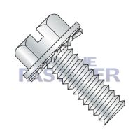 1/4-20X1/2  Slotted Hex Washer External Sems Machine Screw Fully Threaded Zinc And Bake