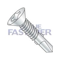 1/4-20X2 3/4  Phillips Flat Self Drill Screw #4 Point with Wings Full Thread Zinc and Bake