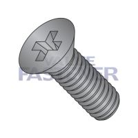 12-24X1  Phillips Flat Machine Screw Fully Threaded 18 8 Stainless Steel Black Oxide