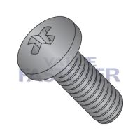 4-40X1  Phillips Pan Machine Screw Fully Threaded 18 8 Stainless Steel Black Oxide