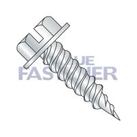 "8-15 X 9/16 Slotted Indent Hex Washer 1/4"" Across The Flats Fully Threaded Self Piercing Screw Needle Point Zinc"